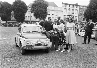Arturo Brunetto and Andrea Frieder, winners of the Liege-Brescia-Liege Rally with a Fiat 500 Sport in 1958