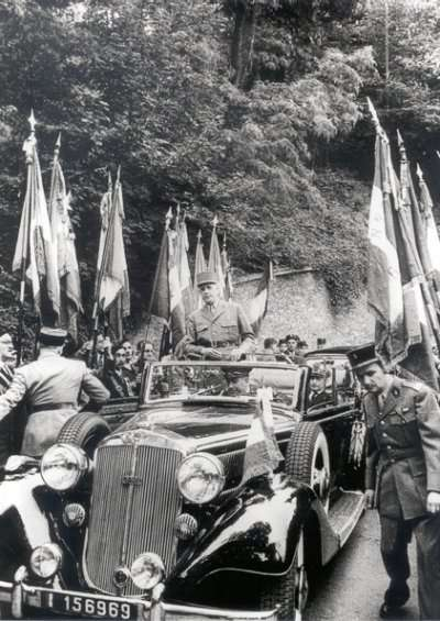 Charles de Gaulle in his Horch 830 BL