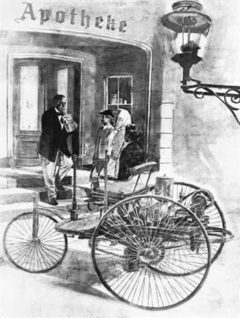 Bertha Benz with the Benz Patent Motor Wagen at the Wiesloch Pharmacy (copyright image)