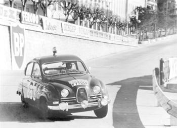 Erik Carlsson driving a Saab in the 1963 Monte Carlo Rally  (copyright image)