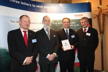 Hermann Kaess, Managing Director of Robert Bosch UK; HRH Prince Michael of Kent;  Dr Werner Struth, President of Robert Bosch Chassis Systems; Jim Fitzpatrick,  Department for Transport Minister for Road Transport