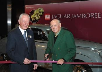 David Roger (left), representing the display's major sponsor with Lord Montagu (right)  (copyright image)