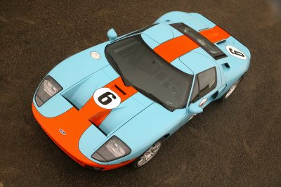 New for 2006, the limited-edition Ford GT �Heritage� paint livery