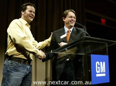 Race driver Robby Gordon (left) 