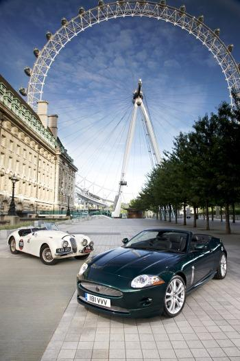 The new Jaguar XK60 alongside 'NUB' - the famous XK 120 that established Jaguar's motor sport credentials in the 1950s