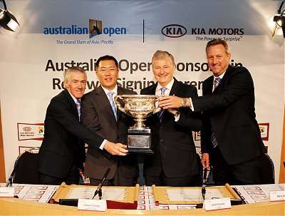 Mr. Ken Rosewall (left), former tennis player, Mr. Euisun Chung, Kia 