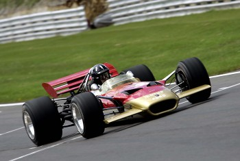 Damon Hill driving the Lotus 49B at Brands Hatch