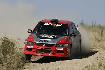 Team Mitsubishi Ralliart Lancer Evolution IX driven by Scott  Pedder, of Melbourne, with co-driver Glen Weston, of Brisbane, in action at the  2006 Rally of Canberra.