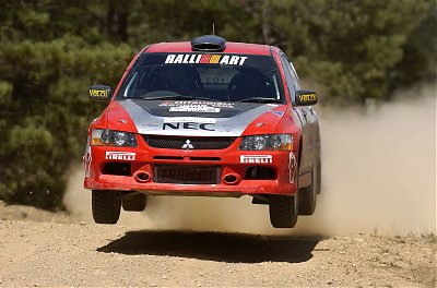 Scott Pedder and  co-driver Glen Weston  in the new Team  Mitsubishi Ralliart  Lancer Evo IX during  the Capital Rally