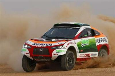 Four 'Racing Lancer' will spearhead Mitsubishi's bid to claim historic first win with Diesel Power at 2009 Dakar  Image: copyright Mitsubishi Motors Australia Ltd, used by Next Car Pty Ltd with permission