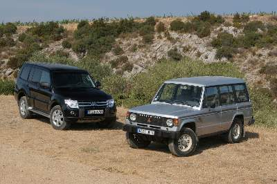 2007 Mitsubishi Pajero (NS series) with the original Pajero wagon of 1982   click to enlarge