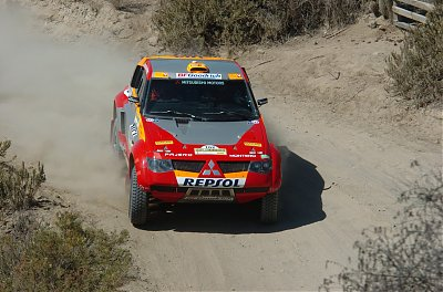 The Mitsubishi Pajero  Evolution MPR12  to be driven by  Luc Alphand and  Nani Roma in the  Transiberico Rally