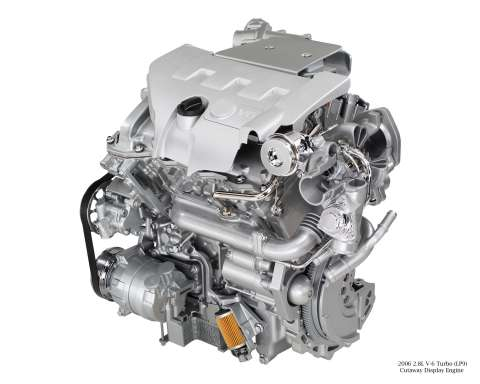 The Saab 9-3 Aero 2.8 litre turbocharged V6 engine 