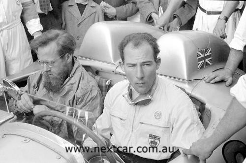 Denis Jenkinson (left) and Stirling Moss (right) in 1955
