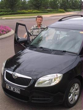 Ian Barrett with the Skoda Roomster  Image copyright: Next Car Pty Ltd  Click on the image for a larger view