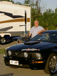 Editor, Stephen Walker, with the  Ford Mustang GT    Click on the image for a larger view