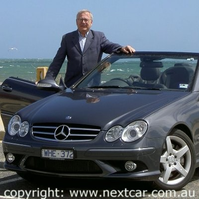 Stephen Walker with the  Mercedes-Benz CLK 350 cabriolet (copyright image)